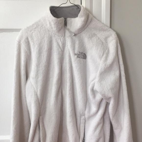 The North Face Jackets & Blazers - White fuzzy north face jacket size medium